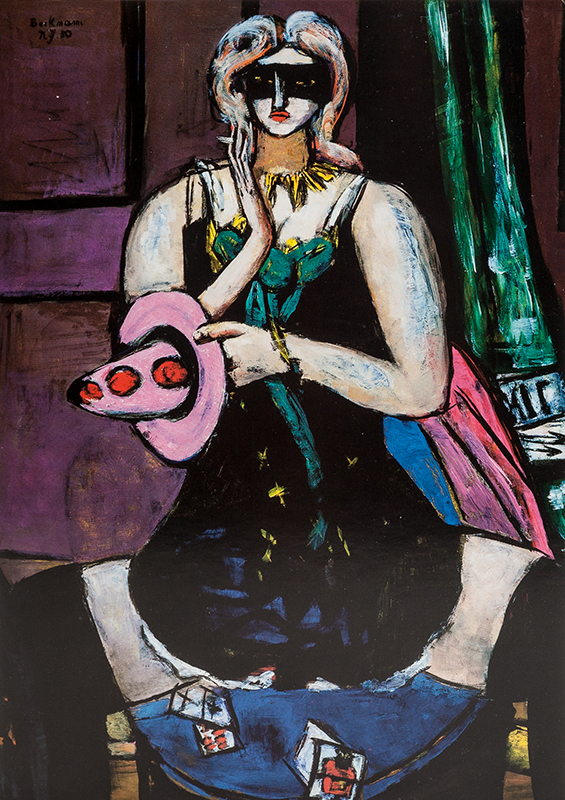 """Note card Beckmann's """"Carnival Mask, Green, Violet, Pink"""""""