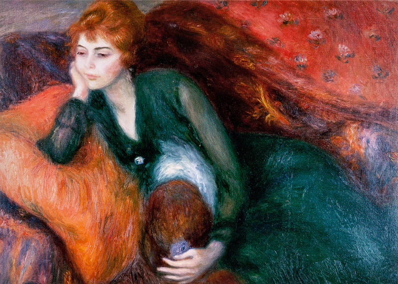 "Note card Glackens's ""Young Woman in Green"""