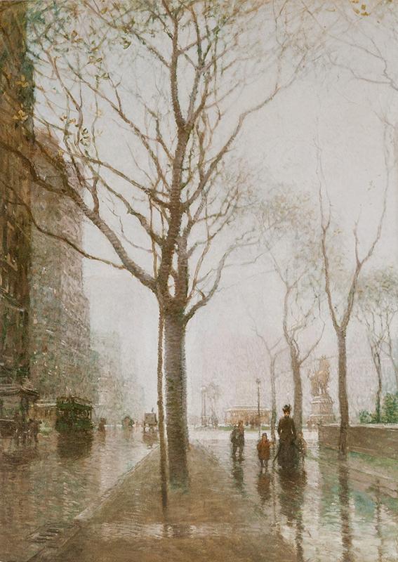 "Note card Cornoyer's ""The Plaza after Rain"""