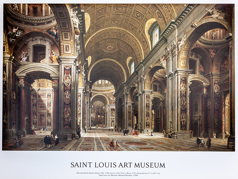 "Poster Panini's ""Interior of St. Peters in Rome"""