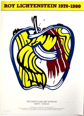 "Poster Lichtenstein's ""Apple"" exhibition 1981, signed, dated"