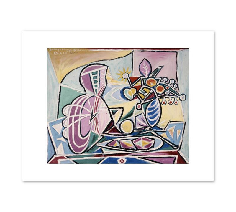 Print Picasso Mandolin and Vase of Flowers 11 x 14""