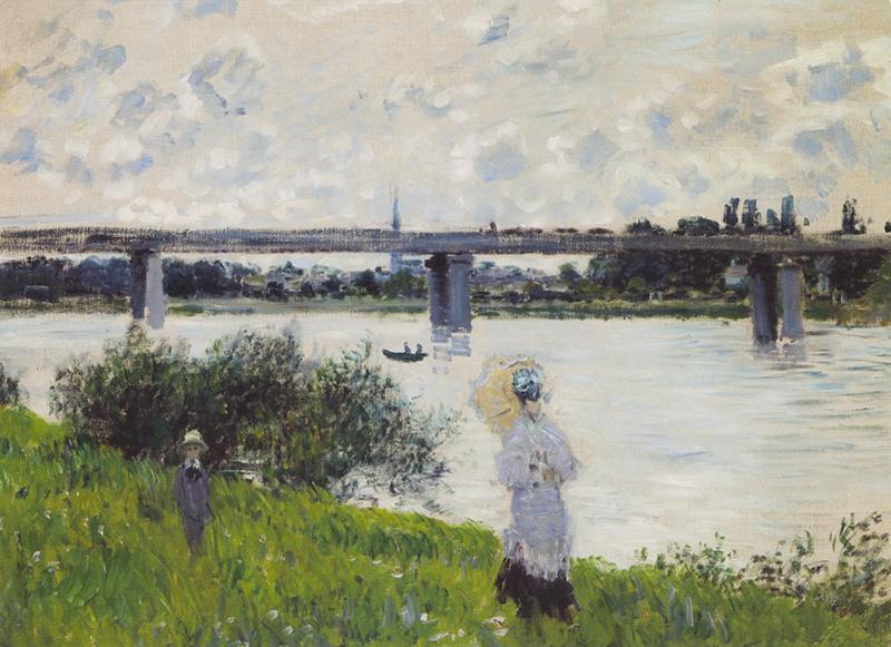 "Note card Monet's ""Promenade, Railroad Bridge, Argenteuil"""