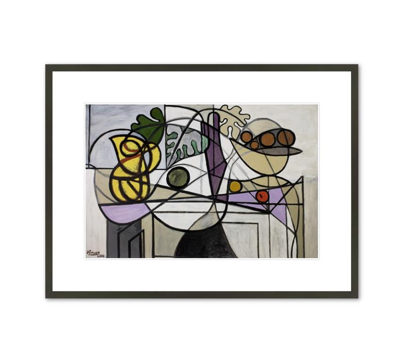 Framed Print Picasso Pitcher and Bowl of Fruit
