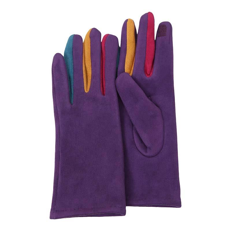 Gloves Purple with multi colors,G-MULTI3